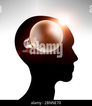 Idea as thought in a human head - concept - Stock Photo