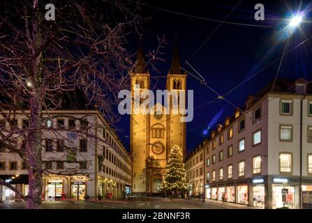 Domstrasse, St. Kilian cathedral, blue hour, old town, Christmas market, Wuerzburg, Franconia, Bavaria, Germany, - Stock Photo