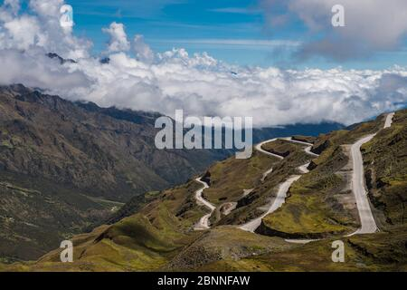 winding road leading up to the mountain pass Abra de Malaga in Peru