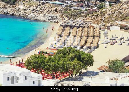 Super Paradise Beach, Mykonos, Cyclades Islands, Greece - Stock Photo