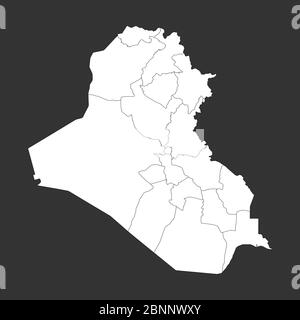Iraq political map with boundaries outline vector illustration. Gray, white. - Stock Photo