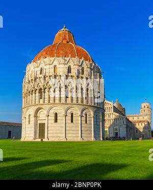 View of Baptistery, Cathedral and Leaning tower, Campo dei Miracoli, Pisa, Tuscany, Italy, Europe - Stock Photo