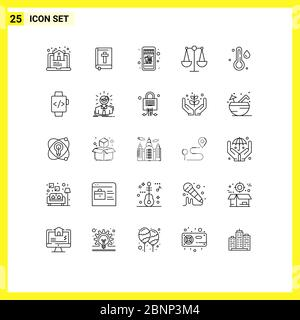 User Interface Pack of 25 Basic Lines of watch, temperature, mobile shopping, rain, justice Editable Vector Design Elements - Stock Photo