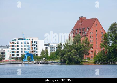 Modern residential buildings and Hotel Speicher am Ziegelsee, Schwerin, Mecklenburg-West Pomerania, Germany, Europe - Stock Photo