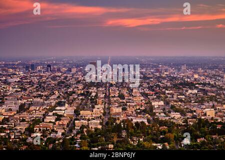 USA, United States of America, California, Los Angeles, Downtown, Hollywood, Beverly Hills, view from Griffith Observatory, - Stock Photo