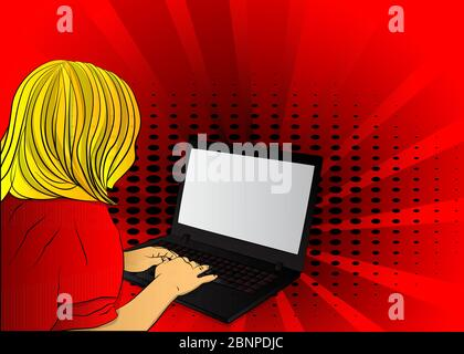 Pop Art Businesswoman working from home - comic book style, cartoon woman with a laptop. Freelance woman work in comfortable - Stock Photo