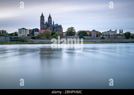 Germany, Saxony-Anhalt, Magdeburg, city view with Magdeburg Cathedral on the river Elbe - Stock Photo
