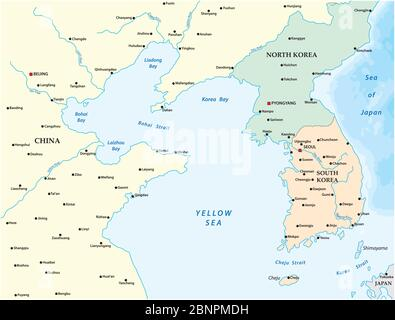Vector map of the yellow sea between China, North Korea and South Korea - Stock Photo
