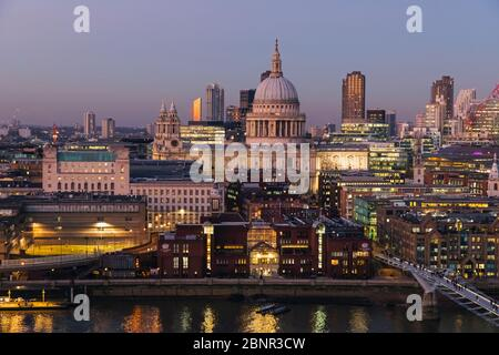 England, London, City of London, St Paul's Cathedral with Millenium Bridge and City of London Skyline