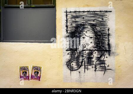 Graffiti in the Croix-Rousse district in Lyon in autumn. UNESCO World Heritage Site since 1998. Former stronghold of industrial silk weaving. - Stock Photo