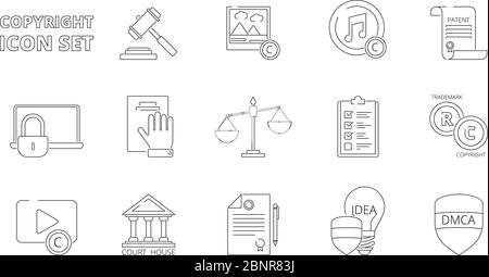 Intellectual property icons. Copyright legal policy regulations independence individuality rights patent ownership vector line icons