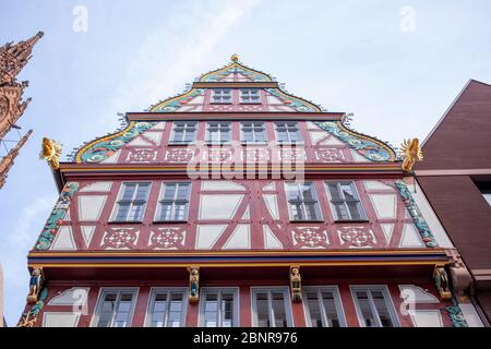Half-timbered house on the Golden Libra, on the left cathedral tower ,, New Old Town, Dom-Römer-Areal, Frankfurt am Main, Hesse, Germany - Stock Photo
