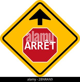 Stop sign warning and give way ahead traffic symbol. Yellow background. - Stock Photo