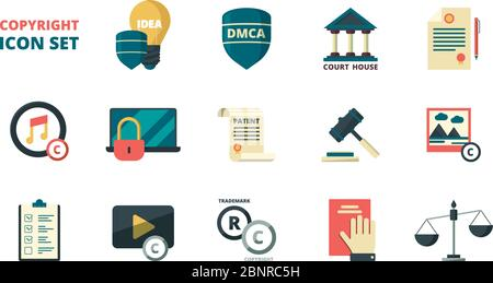Patent copyright icons. Intellectual property individual personal rights legal regulation quality administration vector symbols