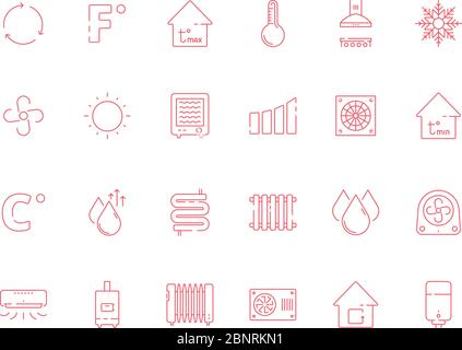 Cooling heating symbols. Cool sun conditioning systems dry air and water vector icon set - Stock Photo