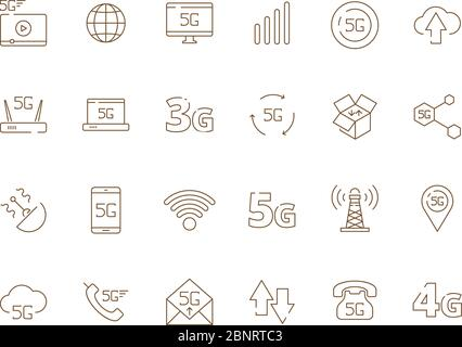 5g icons. Internet mobile safety wireless 4g signal telecommunication new technology free wifi vector symbols - Stock Photo