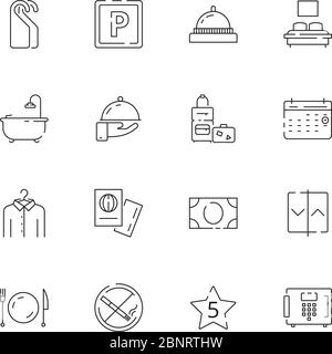 Hotel related icons. Parking restaurant separated bed wifi free tv hotel signs vector thin line - Stock Photo