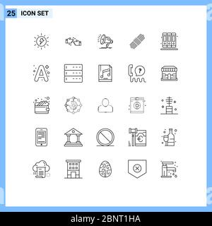 Stock Vector Icon Pack of 25 Line Signs and Symbols for library, books, speaker, set, rope Editable Vector Design Elements - Stock Photo
