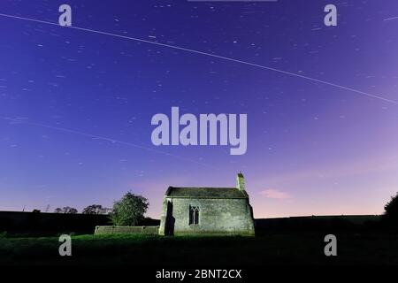 St Mary's Chapel near Tadcaster with 2 passes from the International Space Station - Stock Photo