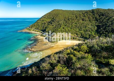 Spectacular view of the Great Ocean Road section near Lorne, Victoria, Australia - Stock Photo