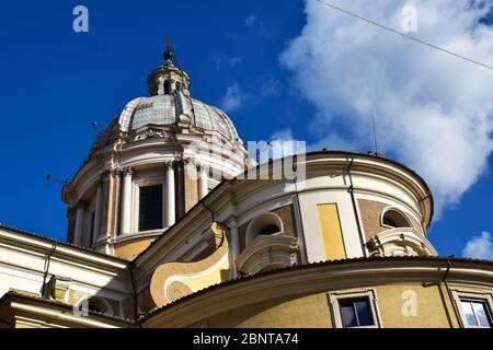 Basilica dei Santi Ambrogio e Carlo al Corso - Basilica of Saint Ambrose and Charles on the Corso in the city of Rome, Italy - Stock Photo