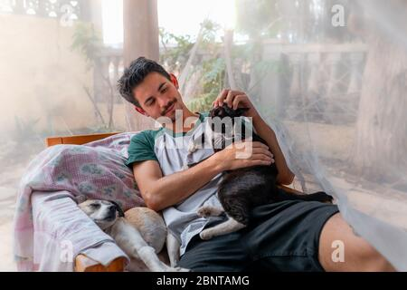 young man sitting in a chair in the garden behind a mosquito net, strokes the head of a black cat sitting on his side. There is a dog sleeping on the Stock Photo
