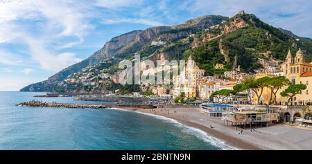 Amalfi, Italy - 1 November, 2019: Amalfi cityscape on coast of mediterranean sea