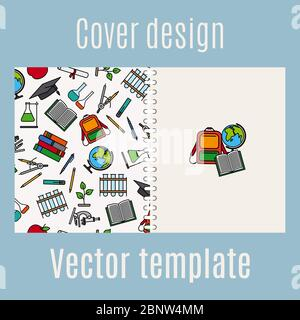 Cover design for print with school supply elements pattern, vector illustration - Stock Photo