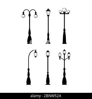 Vintage streetlights black silhouettes set. Vector retro street lamp lights isolated on white background - Stock Photo
