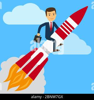 Businessman on rocket in the sky. Business success vector illustration - Stock Photo