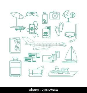 Tourism line art icon set on white backgrund. Vector illustration - Stock Photo
