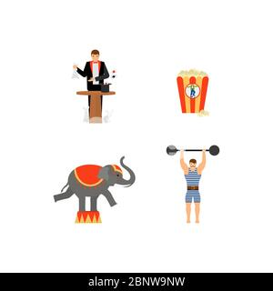 Circus vector flat colored icons set with elephant and magician - Stock Photo