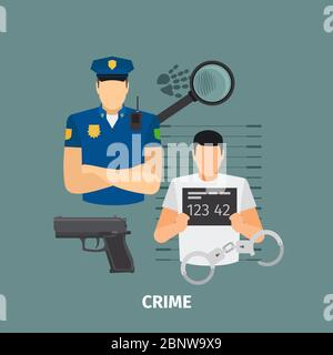 Law concept with crime. Policeman and criminal vector illustration - Stock Photo