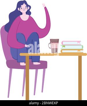 working remotely, woman sitting on chair with computer in desk vector illustration - Stock Photo