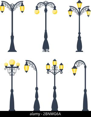 Retro streetlights vector illustration. Vintage street lamps and gas lanterns isolated on white background - Stock Photo