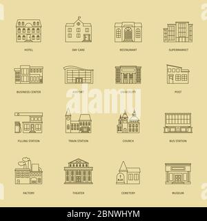 Vector building line icons. Outline town houses illustration - Stock Photo