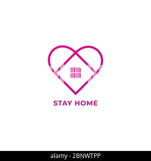 Stay Home Outline Logo Design Isolated on White Background. Home and Heart illustrated the protection and love. Stop spread of coronavirus.
