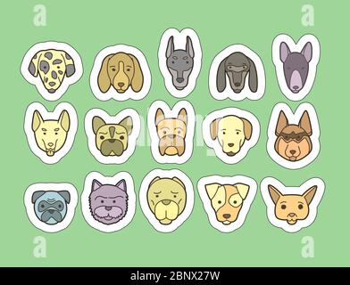 Head of dog and puppy set. Vector hand drawn dog breeds stickers - Stock Photo