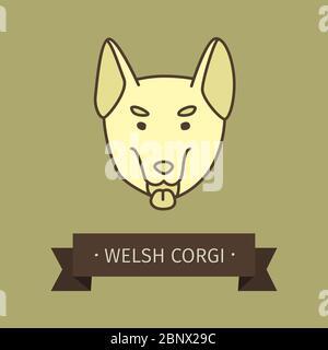 Welsh corgi breed dog for logo design. Vector colored hand drawn dog head - Stock Photo