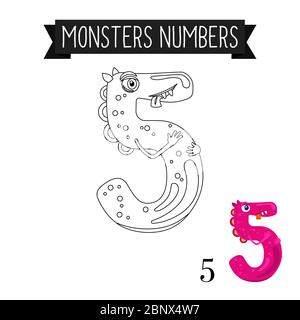 Coloring page monsters numbers for kids. Number 5 vector illustration - Stock Photo