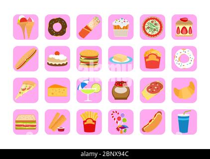 Sweets icons. Fatty food vector set for app design - Stock Photo