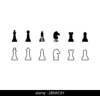 Chess pieces black and white icons set. Vector illustration - Stock Photo