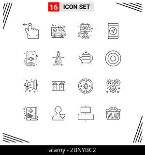 User Interface Pack of 16 Basic Outlines of compass, sound, hobbies, mobile, gps Editable Vector Design Elements - Stock Photo