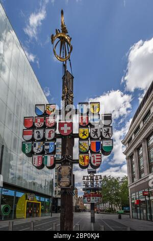 Abandoned Swiss Glockenspiel Clock in Leicester Square during the London lockdown during the coronavirus pandemic.