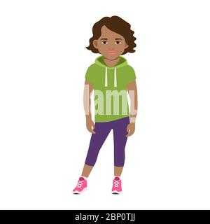 Black girl in a green hoodie isolated vector illustration on white background - Stock Photo