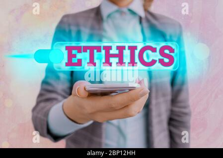 Text sign showing Ethics. Business photo showcasing the moral philosophy or code of morals practiced by an individual
