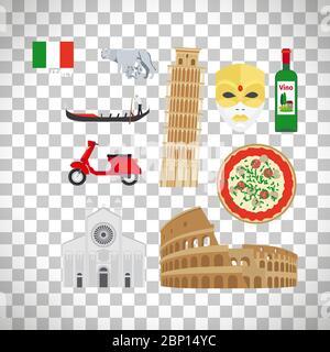 Italy flat icons set isolated on transparent background, vector ilustration - Stock Photo