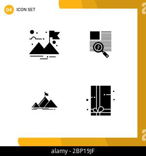 Pictogram Set of 4 Simple Solid Glyphs of finish, peak, line, reading, gift pack Editable Vector Design Elements - Stock Photo