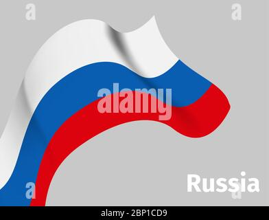 Background with Russian wavy flag on grey, vector illustration - Stock Photo