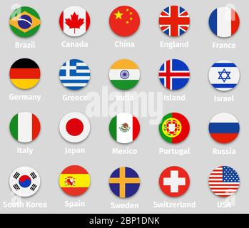 World flags set, round icons with shadow isolated vector illustration - Stock Photo